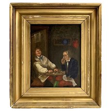 18th / 19th c Oil Painting of Draughts or Checkers Players