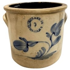 N Clark Jr. Athens, NY  Stoneware Crock with Blue Foliate Decoration