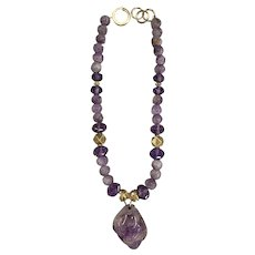 Ruth Frank Necklace with Antique Chinese Carved Amethyst Pendant and Vermeil Beads