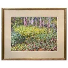 Robert Collier Colorful Outdoor Pastel Painting, Flower Garden