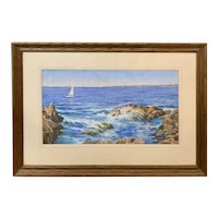 Robert Collier Marine Pastel Painting, Sea Shore, Ogunquit Maine