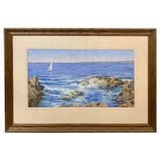 Robert Collier Marine Pastel Painting, Sea Shore, Ogunquit Maine