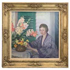 Lee Lufkin Kaula Oil Painting Portrait, Anne on the Veranda, 1919