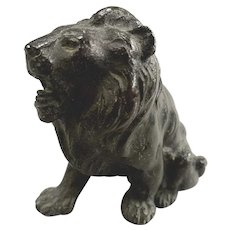 Antique or Vintage Cast Bronze Small Sculpture or Paperweight of a Lion