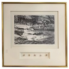 Signed Churchill Ettinger Print of Fly Fishing Scene &  Early 20th Century Flies