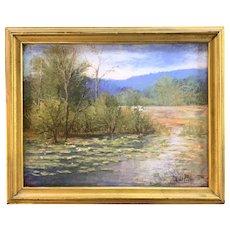 Robert Collier New Hampshire Landscape Pastel Painting, Beaver Pond