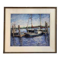 Robert Collier Marine Pastel Painting of Boats at Dock , Sunrise Reflections, 1987