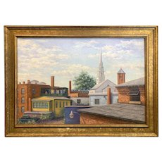 Robert Collier Oil Painting Cityscape , View From My Studio, Keene, NH 1986