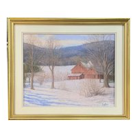 Robert Collier New Hampshire Landscape Pastel Painting of a Winter Barn Scene