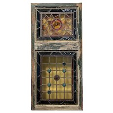 Decorative Antique Stained and Leaded Glass Window