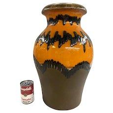 Mid Century Modern West German Ceramic Vase in Orange and Brown Glaze
