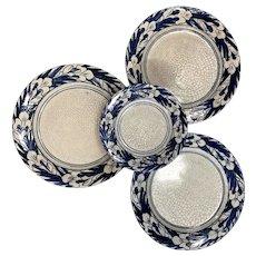 Three Dedham Pottery Iris Pattern Plates and Matching Dish