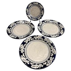 Three Dedham Pottery Snow Tree Pattern Plates and Matching Dish