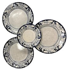 Three Dedham Pottery Water Lily Pattern Plates and Matching Dish