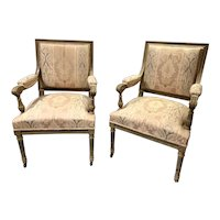 Nice Pair of French Style Arm Chairs with Fine Carving & Upholstery
