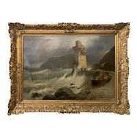 Thomas Brooks  19th c English Marine Oil Painting of A Fishing Dory in Lynmouth