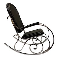 Maison Jansen Mid Century Modern Chrome Thonet Style Rocking Chair