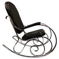 Maison Jansen Mid Century Modern Chrome Thonet Style Rocking Chair