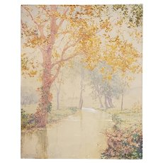 Walter Launt Palmer Watercolor Gouache Painting of an Tonalist Fall Landscape