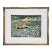 "Howard Weston Arnold Marine Oil Painting, The Fishing Dragger Aubruy ""M"", Back Cove, Maine"