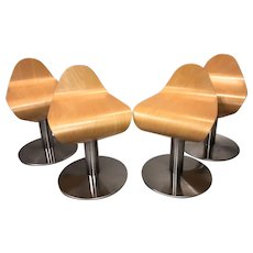 Set of Four Designer Molded Plywood Mid Century Modernist Low Stools or Chairs with Chromed Bases