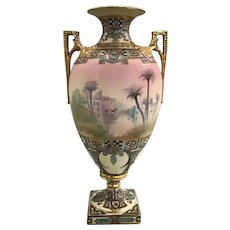 """Nippon Porcelain Two Handled Urn with Orientalist Motif """"On The Road To Mecca"""""""