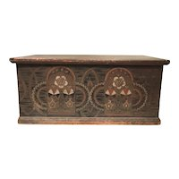 18th Century Pennsylvania Polychrome Decorated Tulipwood Dower Chest