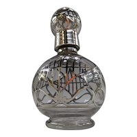Antique Silver Overlay Perfume Bottle with Stopper