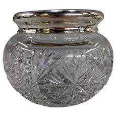 Antique Silver Repousse Top Cut Crystal Cosmetic or Dresser Jar