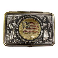 Unusual Patriotic Silver Plate Match Safe with American Flag