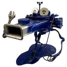 Blue Painted Articulated Metal Tool Figure Sculpture, Including Carburetor, Signed Gary