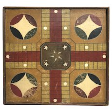 Late 19th c Folk Art Polychrome Wooden Parcheesi Game Board