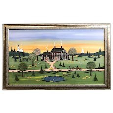 Virginia Young Folk Art Spring Scene Oil Painting in the Grandma Moses Style