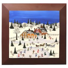 Virginia Young Folk Art Winter Scene Oil Painting in the Grandma Moses Style