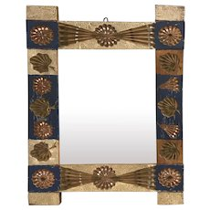 19th / 20th c Chip Carved Polychrome Folk Art Mirror, Illegibly Signed