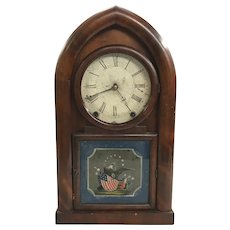 WS Johnson 8 Day Beehive Clock with Reverse Painted Patriotic Tablet