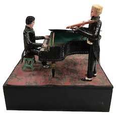 Folk Art Polychrome Outsider Music Box with Piano & Violin Player