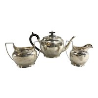 English Three Piece Sterling Silver George Nathan & Ridley Hayes Tea Service