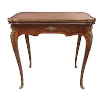 19th Century French Kingwood Inlaid Games Table in the Manner of Francois Linke