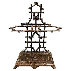Early 20th c Faux Bamboo Cast Iron Umbrella Stand