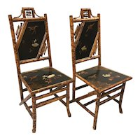 Pair of English Bamboo Lacquered Side Chairs, circa 1880