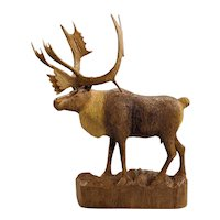 Arthur Dube Large Wooden Carved Sculpture of a Caribou