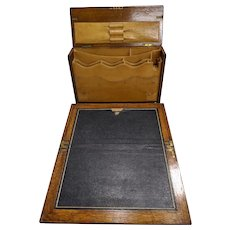 Antique Victorian English Oak and Leather Stationary box and Lap Desk