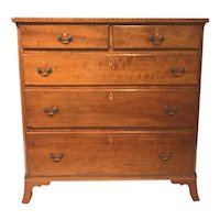 Cherrywood Inlaid Hepplewhite Five Drawer Chest, circa 1790-1820