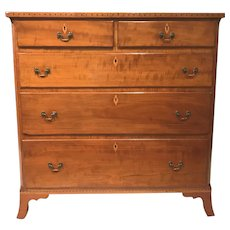 Cherrywood Inlaid Hepplewhite Five Drawer Chest, circa 1790-1820