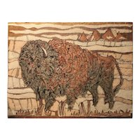Abstract Fabric Collage Wall Hanging of a Buffalo  in a Native American Motif, circa 1970's