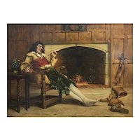 Stephen Lewin Interior Genre Oil Painting of a Gentleman by the Hearth 1884