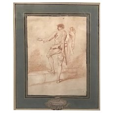 Louis-Joseph Watteau de Lille Drawing of a Gentleman with Coat or Cape
