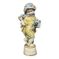 """Michael Powolny Austrian Art Nouveau Ceramic Sculpture of Putto with Flowers, """"Summer"""""""