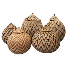 Set of Five African Zulu Hand Woven Covered Ukambas or Beer Baskets